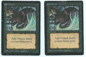 Magic MTG 2x Beta Dark Ritual HP front