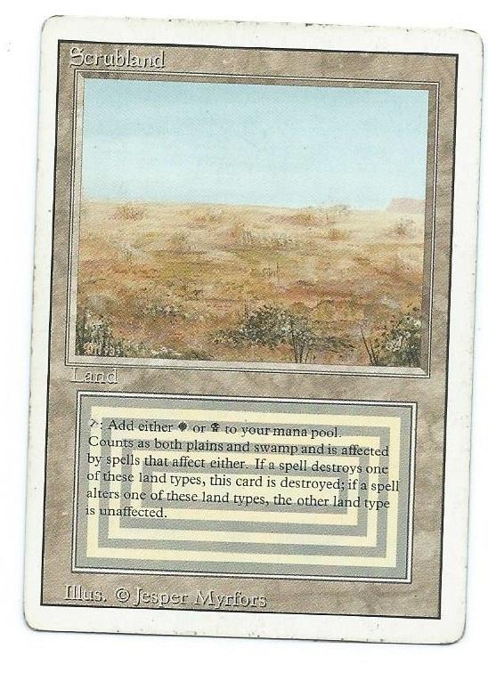 Magic MTG Revised dual land Scrubland front