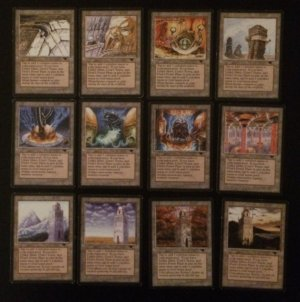 Magic MTG Antiquities Urzatron complete set Tower Mine Power Plant front