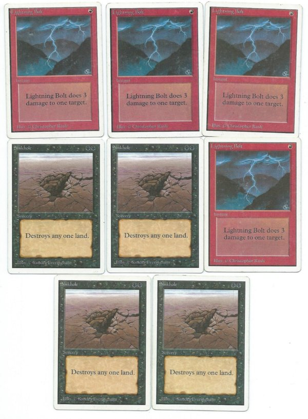 MTG  playset sinkhole lightning bolt