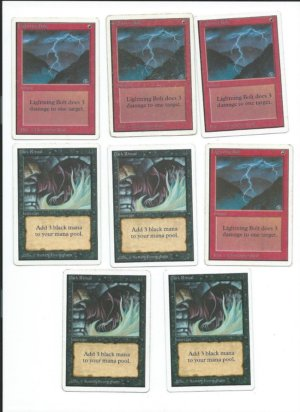 Unlimited 4x Dark Ritual + 4x Lightning Bolt front