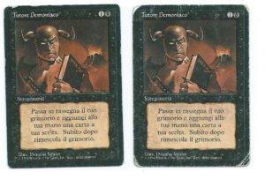 Magic MTG 2x Demonic Tutor FBB Italian HP front