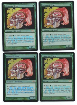 Magic MTG 4x Llanowar Elves foil FNM front