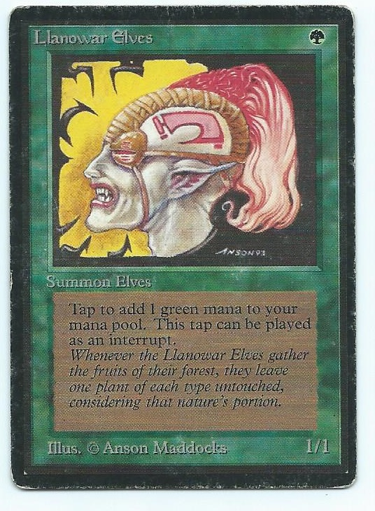 Magic MTG Beta Llanowar Elves front
