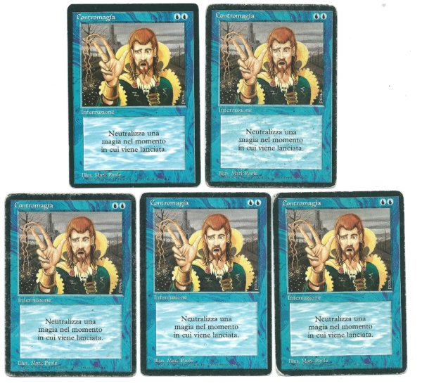 Magic MTG 5x FBB Counterspell Italian revised front