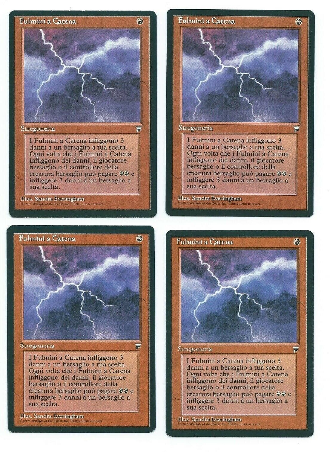 Magic MTG 4x Chain Lightning FBB Italian Legends front