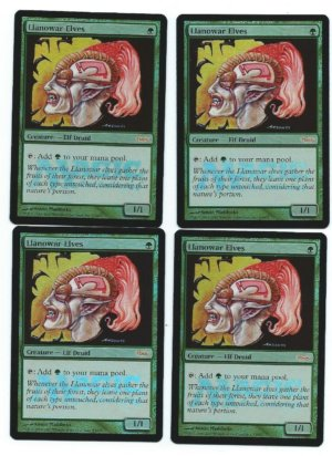 Magic MTG promo foil 4x Llanowar Elves front