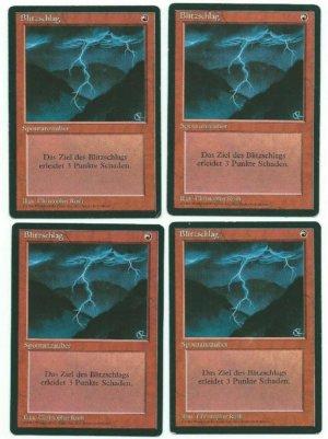 Magic MTG 4x Lightning Bolt FBB German Foreign 1994 Playset www_MoxBeta_com #2