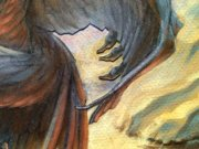 Magic MTG Pit Raptor Original Art oil detail