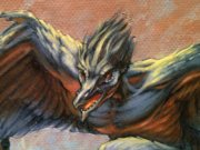Magic MTG Pit Raptor Original Artwork detail face